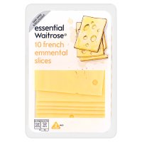 essential Waitrose French mild Emmental cheese, strength 2, 10 slices