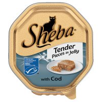Sheba tender pieces of cod in jelly foil tray cat food