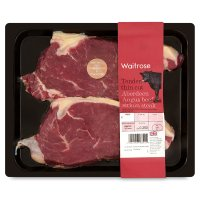 Waitrose Aberdeen Angus thin cut beef sirloin steaks