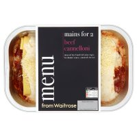 menu from Waitrose beef cannelloni