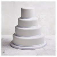 Classic Ribbon' 4 tier  White Wedding Cake, Golden Sponge (all tiers)