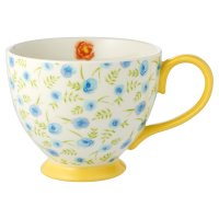 Waitrose Floral Footed Mug Yellow