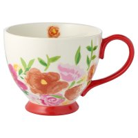 Waitrose Floral Footed Mug Red