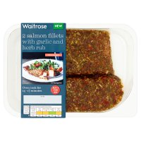 Waitrose 2 Salmon Fillets Garlic & Herb Rub