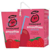 Innocent kids cherry and strawberry smoothie, 4x180ml