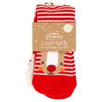 Waitrose 2pk Xmas Reindeer/Star Tights 5-
