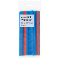 essential Waitrose flexi straws, pack of 50
