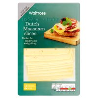 Waitrose Dutch mild Maasdam cheese, strength 2, 10 slices