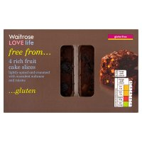 Waitrose LOVE life gluten free rich fruit cake slices