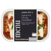 menu from Waitrose spinach & ricotta cannelloni