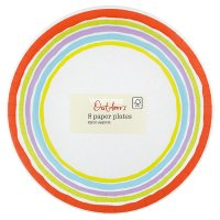 Candy store stripe paper plates