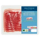 Waitrose 12 British Outdoor Bred unsmoked dry cured streaky bacon rashers - 250g