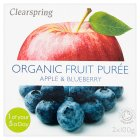 Clearspring Organic Apple & Blueberry Puree - 2x100g
