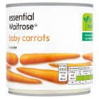 essential Waitrose canned baby carrots in water - drained 265g