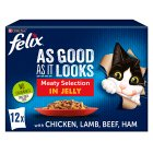 Felix 'As Good as it Looks' 12 pouches - meat menus in jelly - 12x100g Brand Price Match - Checked Tesco.com 30/07/2014
