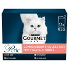 GOURMET Perle Adult Cat Mini Fillets in Gravy Connoisseurs Collection Wet Cat Food Pouch - 12x85g