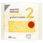 essential Waitrose English mild grated cheddar cheese, strength 2 - 250g