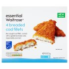 essential Waitrose 4 frozen line caught breaded cod fillets - 600g