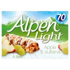 Alpen bars light 5 apple & sultana - 95g Brand Price Match - Checked Tesco.com 10/03/2014
