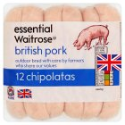 essential Waitrose 12 British pork chipolatas - 340g