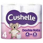 Cushelle white Double Roll toilet rolls - 4s