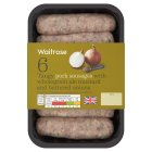 Waitrose 6 British pork sausages with ale mustard and buttered onion - 400g