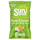 Sunbites sour cream & pepper wholegrain snack multipack crisps - 6x25g