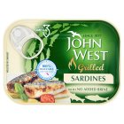 John West natural grilled sardines with no added brine - 100g