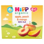 Hipp organic just fruit, apple, peach & mango - stage 1 - 4x100g
