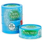 John West No Drain tuna steak with brine, 3 pack - 3x120g