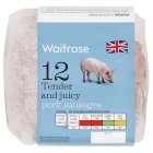Waitrose tender & juicy 12 pork sausages - 681g
