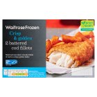 Waitrose frozen 2 line caught battered cod fillets - 300g