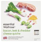 essential Waitrose bacon, leek & Cheddar cheese quiche - 400g
