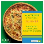 Waitrose Broccoli, Spinach & Ricotta Quiche - 400g