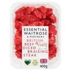 essential Waitrose British beef diced braising steak - 400g