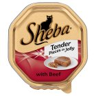 Sheba tender pieces of beef in jelly foil tray cat food