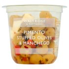 Waitrose pimento stuffed olives with manchego cheese in a chili dressing - 210g