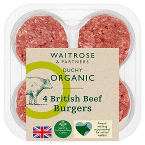 Waitrose Duchy Organic 4 British beef burgers