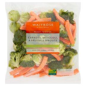 Waitrose ready prepared carrots, broccoli & sprouts