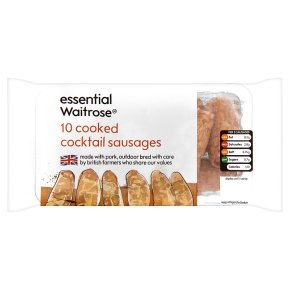 essential Waitrose 10 cooked cocktail sausages