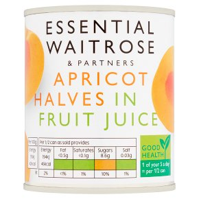 essential Waitrose apricot halves in fruit juice