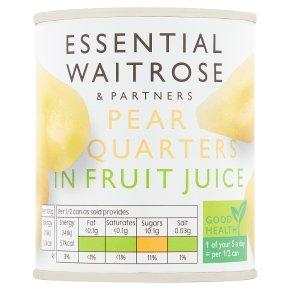 Essential Waitrose Pear Quarters (in fruit juice)