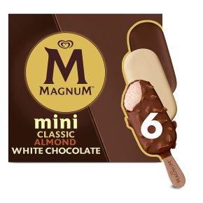 Magnum Mini classic, almond & white 6 pack ice cream