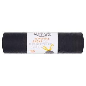 essential Waitrose refuse sacks with drawstrings, roll of 15