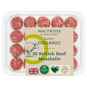 Waitrose Duchy Organic 20 British beef meatballs