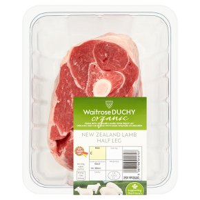 Waitrose Organic New Zealand half leg of lamb