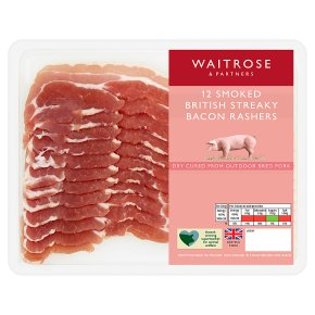 British smoked streaky bacon, 12 rashers