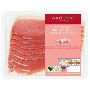 Waitrose smoked British back bacon, 8 rashers