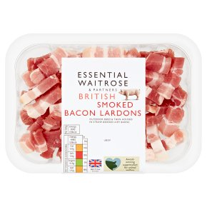 essential Waitrose smoked British bacon lardons