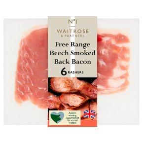 Waitrose 1 free range smoked back bacon, 6 rashers